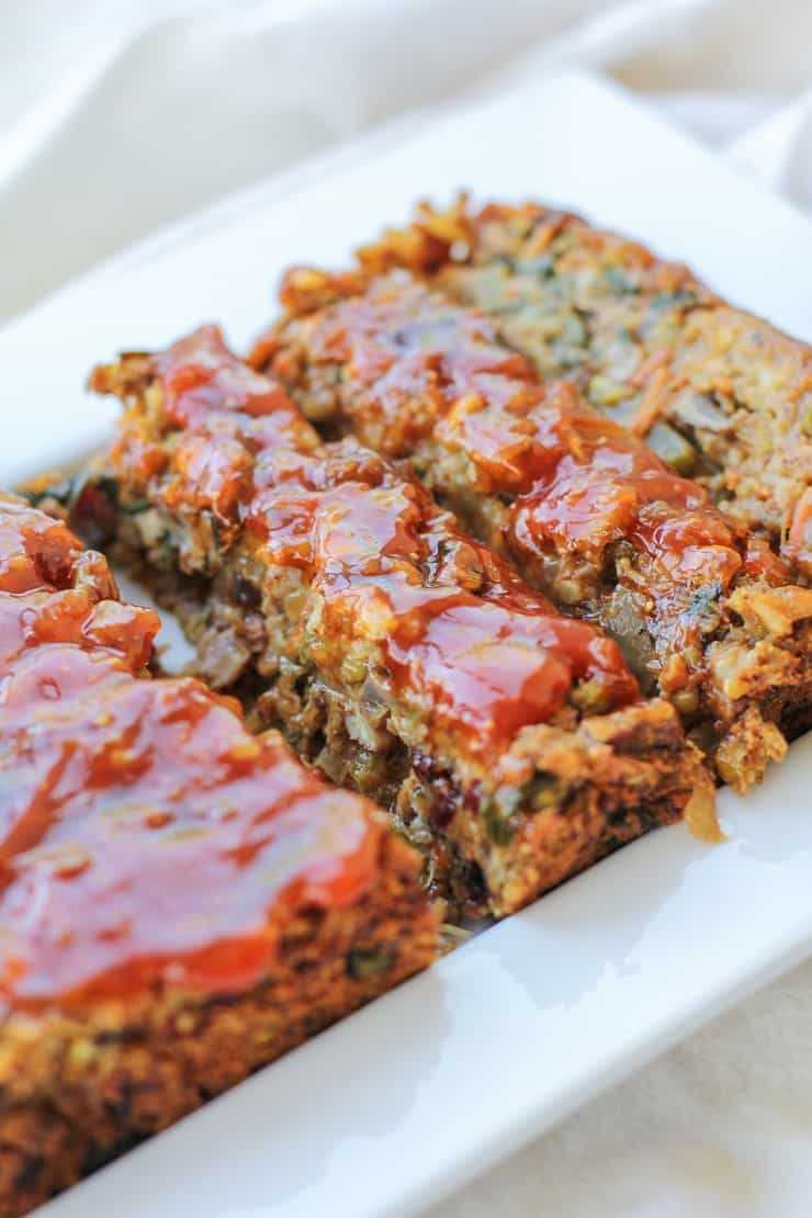 Thai Vegan Meatloaf made with lentils and brown rice. Packed with vegetables and spiced to perfection! #glutenfree #dinner #recipe