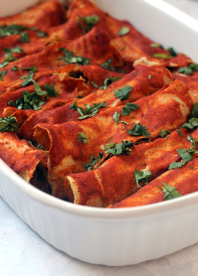 Vegan Black Bean and Sweet Potato Enchiladas