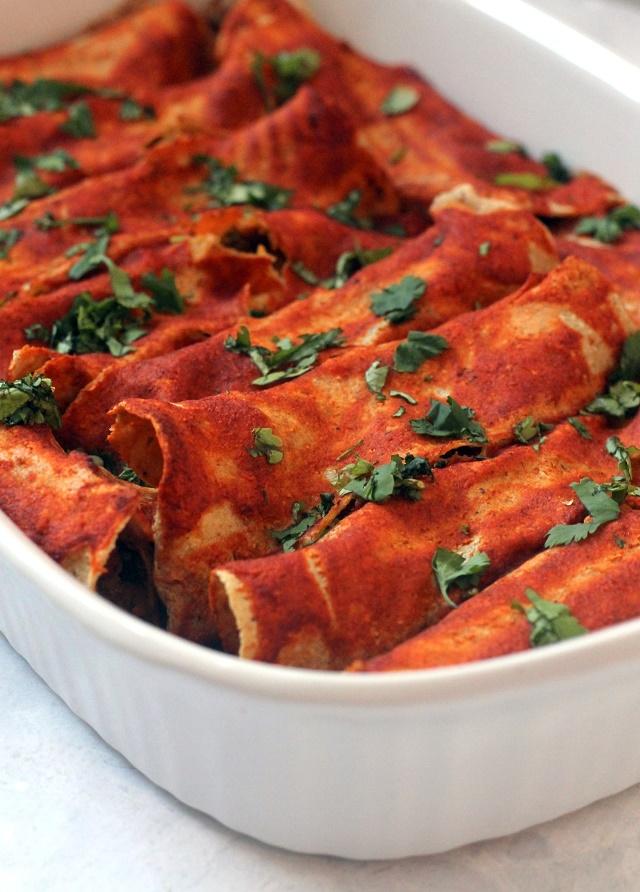 Vegan Black Bean and Sweet Potato Enchiladas