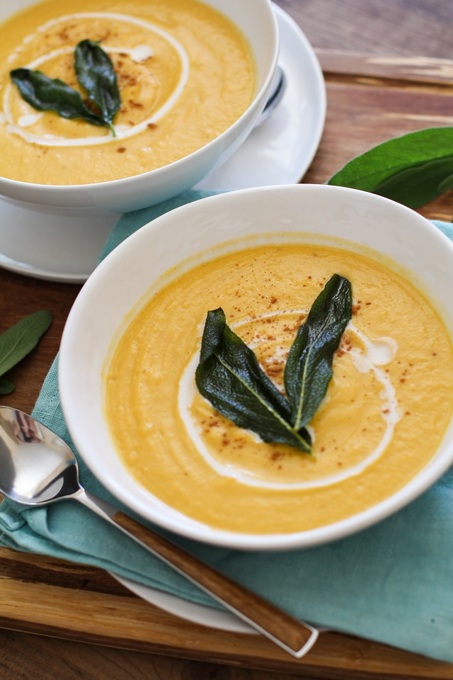 Vegan Butternut Squash Bisque with Crispy Sage | TheRoastedRoot.net #healthy #recipe #vegetarian #soup #paleo