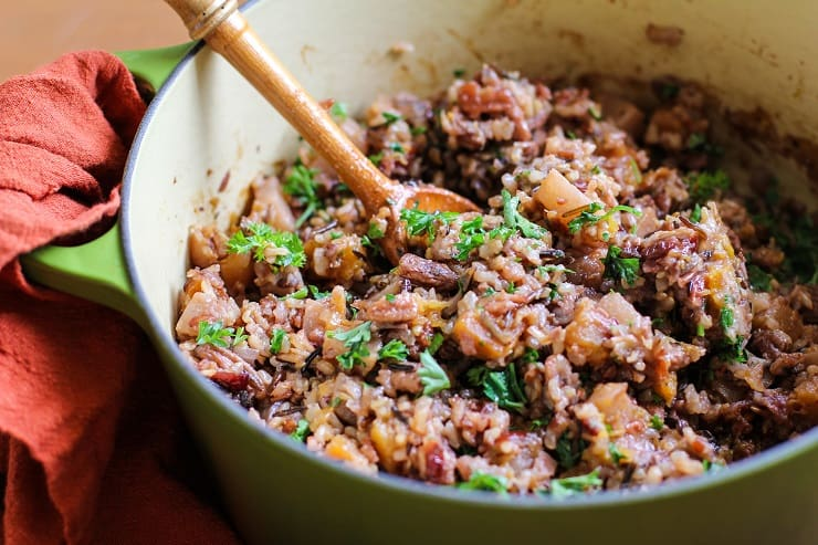 Wild Rice Stuffing with Butternut Squash, cranberries, and pecans. This healthy gluten-free stuffing recipe is perfect for the holidays