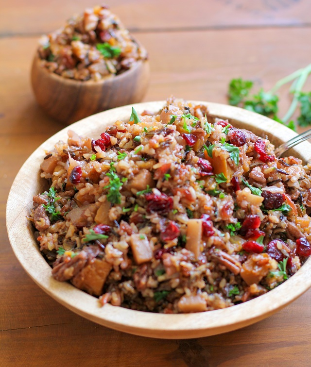 Wild Rice Stuffing with Butternut Squash, Pears, Pecans, and Dried Cranberries #healthy #thanksgiving #recipe #sidedish