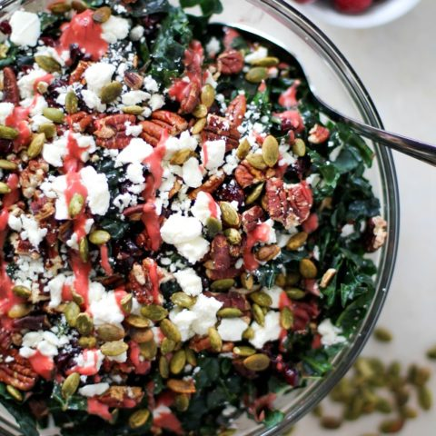 Cranberry Kale Salad with Roasted Pecans and Feta | TheRoastedRoot.net #healthy #superfood #recipe #vegetarian