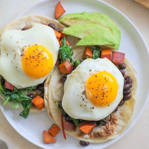 Superfood Breakfast Tacos with sweet potato, black beans, and greens   TheRoastedRoot.net #recipe #InspiredGathering #ad