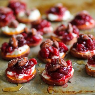 Sweet Potato Rounds with Goat Cheese and Roasted Cranberries