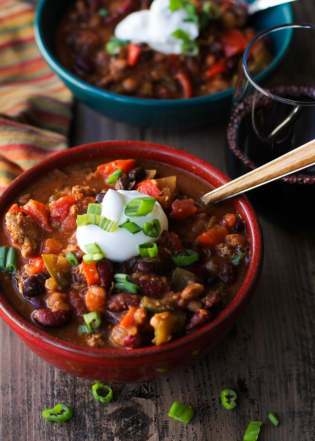 3-Bean Turkey Chili |TheRoastedRoot.net #healthy #dinner #recipe