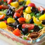 7-Layer Hummus Dip with @sabradippingco hummus | TheRoastedRoot.net #healthy #ad #superbowl