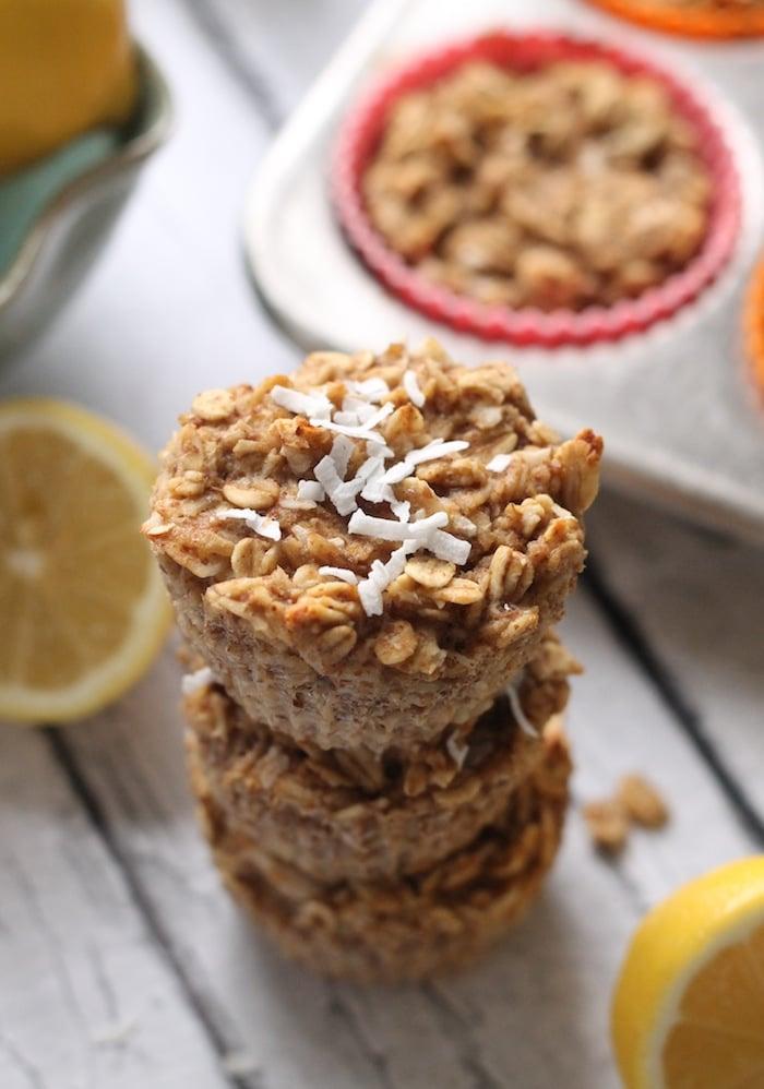 Lemon Coconut Baked Oatmeal Cups + 5 healthy ways to eat citrus fruit