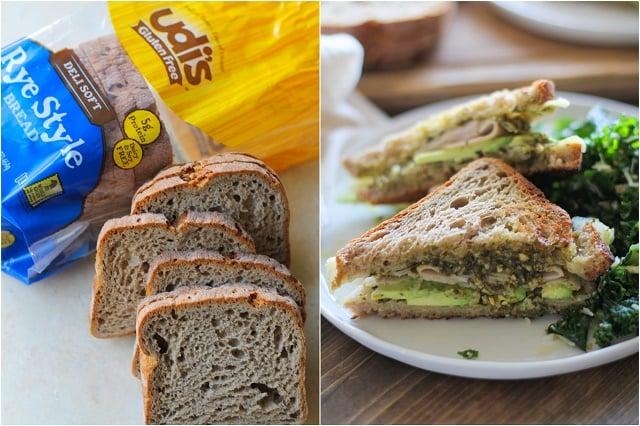 Turkey Pesto Avocado Sandwich with @udisglutenfree rye bread | TheRoastedRoot.net #glutenfree #lunch #recipe