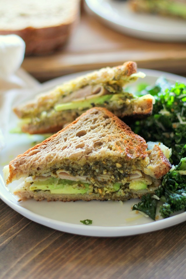Turkey Pesto Avocado Sandwich with @udisglutenfree rye bread | TheRoastedRoot.net #glutenfree #lunch #recipe
