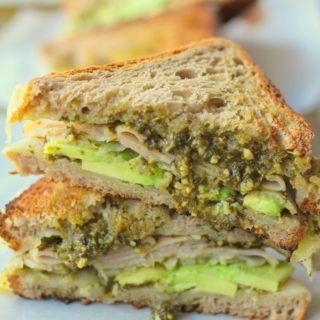 Turkey Pesto Avocado Sandwich with @udisglutenfree rye bread   TheRoastedRoot.net #glutenfree #lunch #recipe