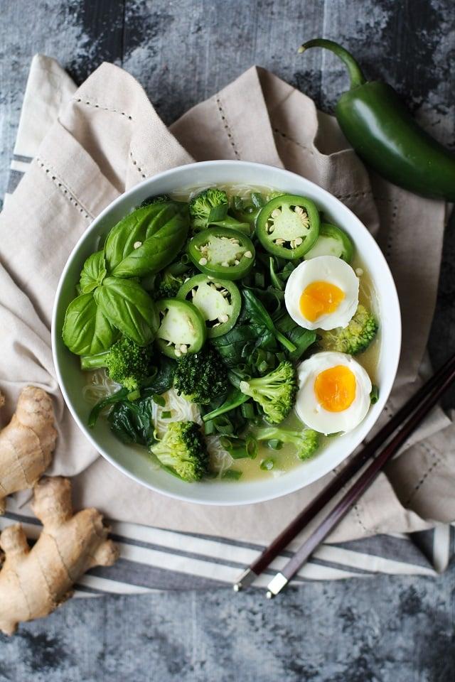 Vegetarian Ramen with Garlic-Ginger Broth | TheRoastedRoot.net #glutenfree #healthy #dinner