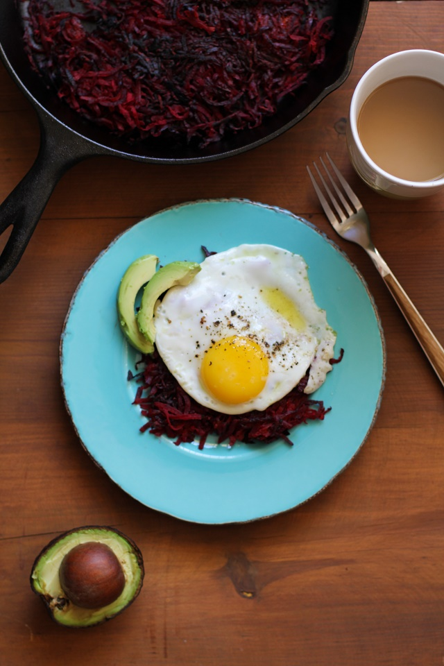 Beet Hash Browns | TheRoastedRoot.net #breakfast #brunch #superfood #healthy #paleo