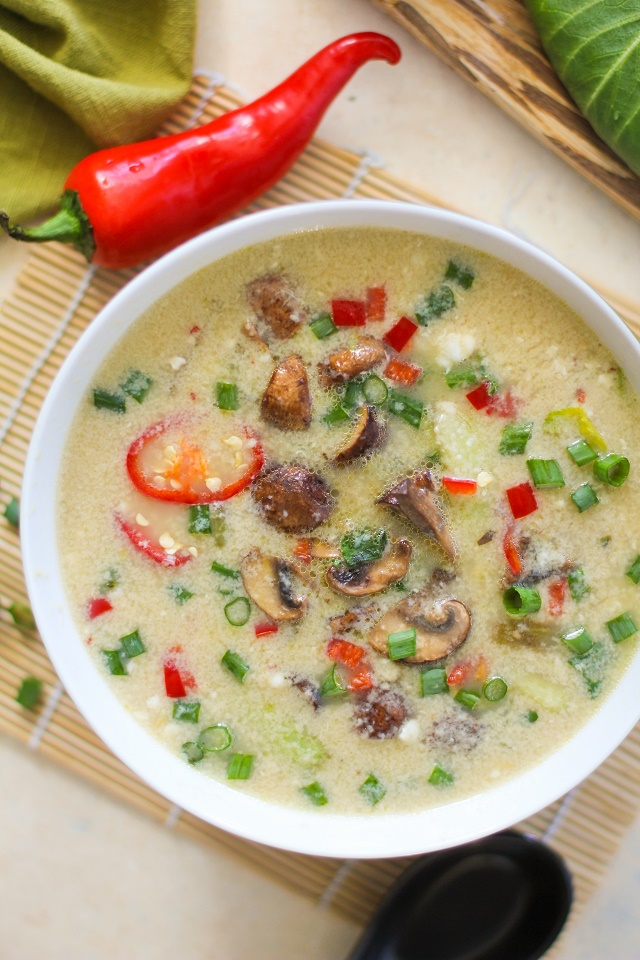 Egg Drop Soup with Bok Choy and Mushrooms | TheRoastedRoot.net #recipe #vegetarian #healthy