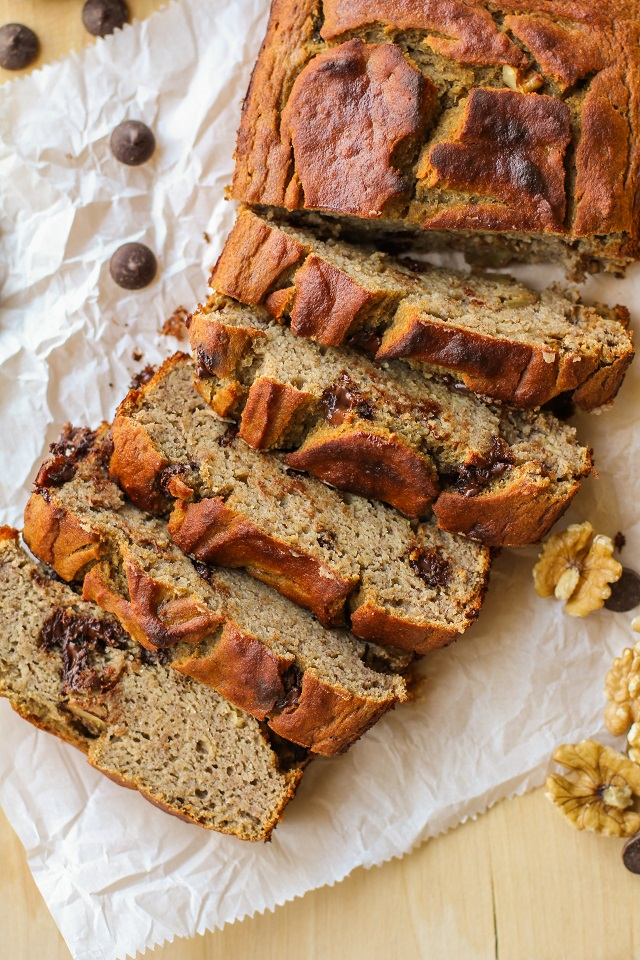 Grain-Free Chocolate Chip Banana Walnut Bread | TheRoastedRoot.net #healthy #recipe #glutenfree #paleo
