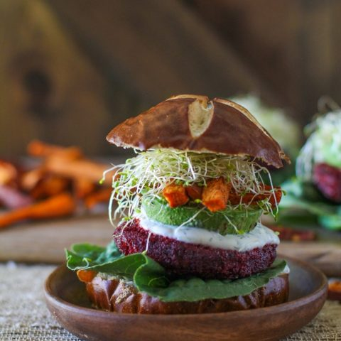 Moroccan-Spiced Beet and Carrot Burgers with Herbed Goat Cheese  TheRastedRoot.net #superfood #vegetarian #recipe