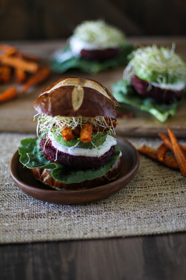 Moroccan-Spiced Beet and Carrot Burgers with Herbed Goat Cheese |TheRastedRoot.net #superfood #vegetarian #recipe