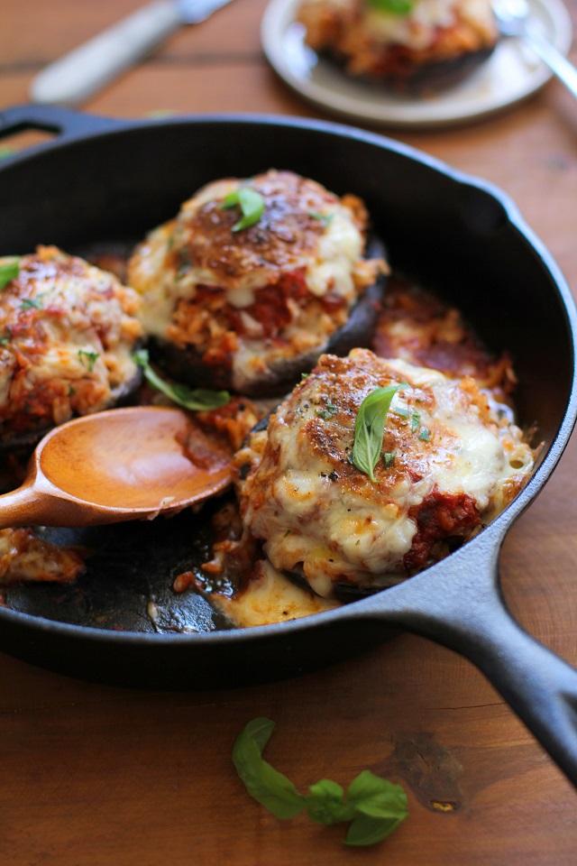 Mozzarella Stuffed Portobello Mushrooms | TheRoastedRoot.net #healthy #vegetarian #recipe