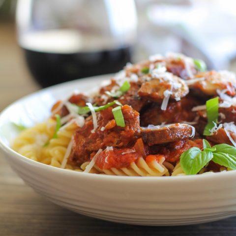Easy Mushroom and Sausage Pasta | TheRoastedRoot.net #recipe #dinner #CarandoDateNight #BertolliDateNight #spon @kroger