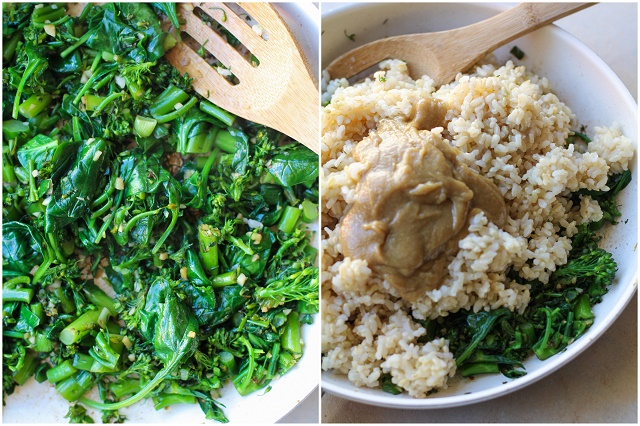 Wasabi Vegetable Bowls with broccolini , spinach, cucumber, avocado, and creamy wasabi sauce   TheRoastedRoot.net #vegan #vegetarian #tahini #healthy #recipes