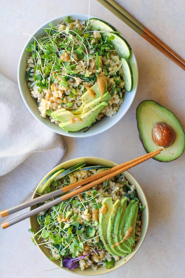 Wasabi Vegetable Bowls with broccolini , spinach, cucumber, avocado, and creamy wasabi sauce | TheRoastedRoot.net #vegan #vegetarian #tahini #healthy #recipes