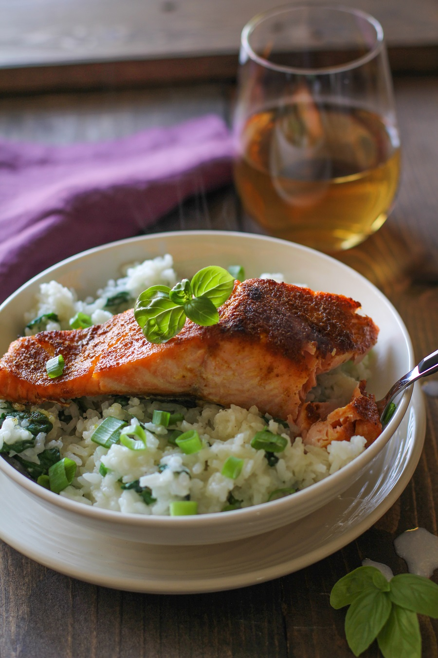 Crispy Curried Salmon with Basil Coconut Rice | TheRoastedRoot.net #healthy #dinner #recipe #glutenfree