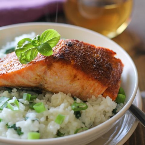 Crispy Curried Salmon with Basil Coconut Rice