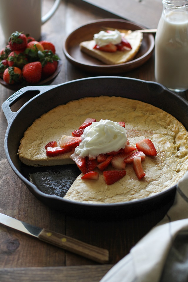Grain-Free Dutch Baby Pancake made with almond flour and macadamia nut milk | TheRoastedRoot.net #recipe #breakfast #brunch #paleo