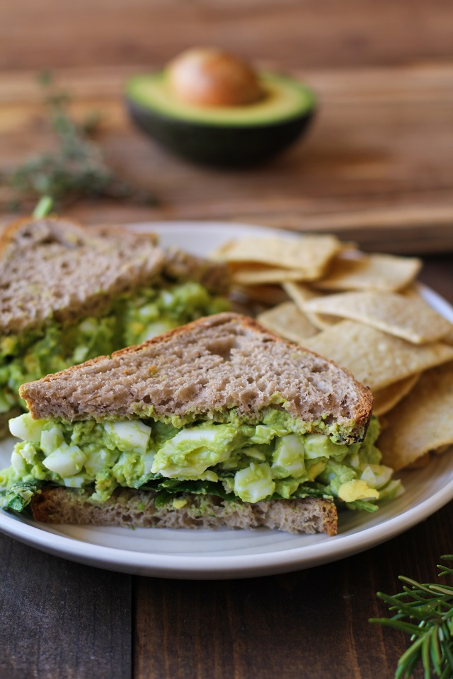 Avocado Egg Salad Sandwiches with fresh herbs - a healthful alternative to classic egg salad   TheRoastedRoot.net #recipe #lunch