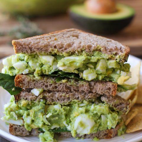 Avocado Egg Salad Sandwiches with fresh herbs - a healthful alternative to classic egg salad | TheRoastedRoot.net #recipe #lunch