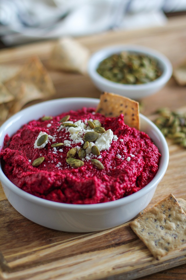 Roasted Beet and Garlic Hummus | TheRoastedRoot.net #superfood #appetizer #recipe #healthy