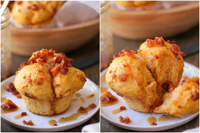 Sweet Potato Pull Apart Rolls with Maple Bacon Glaze | TheRoastedRoot.net #bread #recipe #brunch