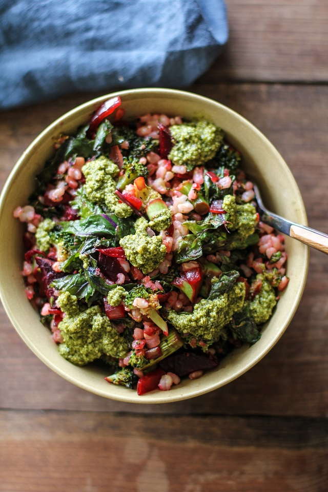 Broccoli, Beet, and Kale Brown Rice Bowls with Pesto Sauce - a healthy, filling vegetarian meal | TheRoastedRoot.net #vegetarian #dinner #recipe