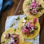 Coffee-Rubbed Grilled Tri-Tip Tacos with Chimichurri Sauce, cotija cheese, and pickled red onions | TheRoastedRoot.net #healthy #dinner #recipe #glutenfree