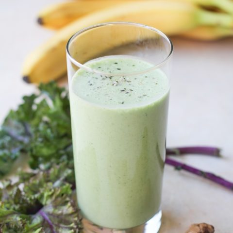 Healthy Gut Smoothie - filled with stomach-soothing whole foods and probiotics   TheRoastedRoot.net #healthy #drink #recipe #greensmoothie