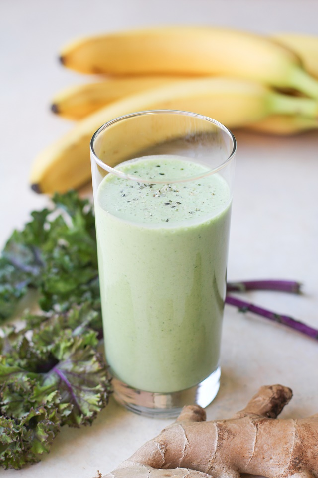 Healthy Gut Smoothie - filled with stomach-soothing whole foods and probiotics | TheRoastedRoot.net #healthy #drink #recipe #greensmoothie