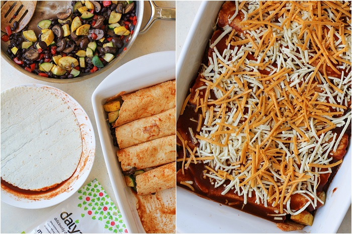 Mushroom, Zucchini, and Black Bean Vegetarian Enchiladas | TheRoastedRoot.net #healthy #recipe #dinner #cinco_de_mayo