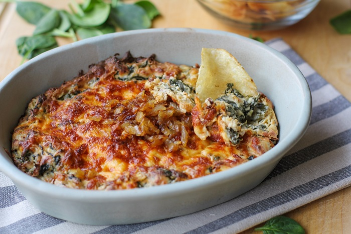 Spinach and Caramelized Onion Dip   TheRoastedRoot.net #cheese #appetizer #glutenfree