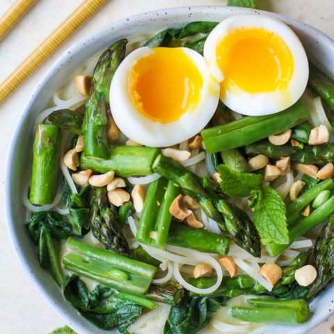 Spring Vegetable Green Curry Noodle Bowls | TheRoastedRoot,net #glutenfree #healthy #dinner #recipe