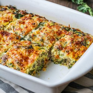 Sweet Potato, Sausage, Kale Breakfast Casserole - an easy, healthy breakfast recipe perfect for feeding the whole family | TheRoastedRoot.com