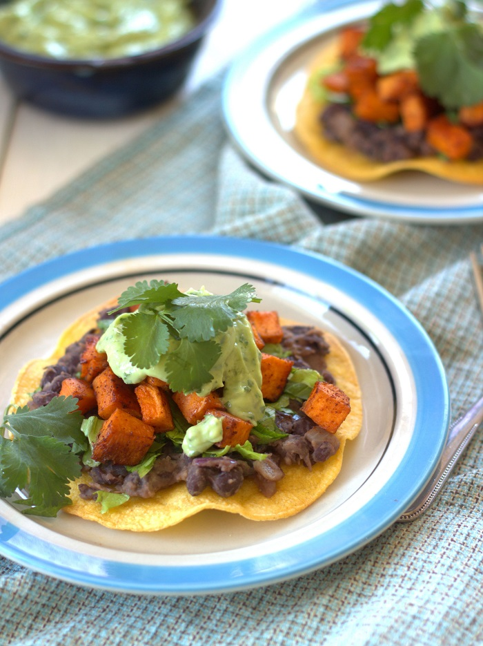 Sweet Potato and Black Bean Tostadas with Lime Crema + 26 Recipes for ...