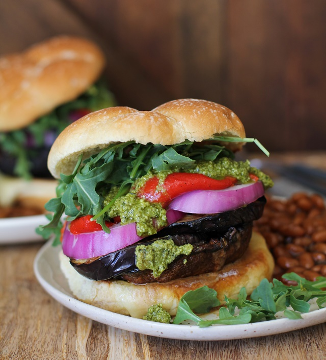 Grilled Portobello Burger with grilled eggplant, roasted red peppers ...
