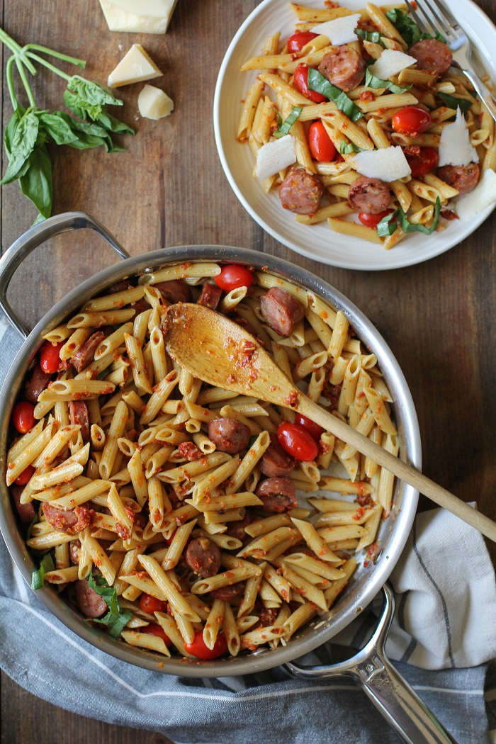 30-Minute Gluten-Free Sausage Pasta with Sun-Dried Tomato Pesto Sauce