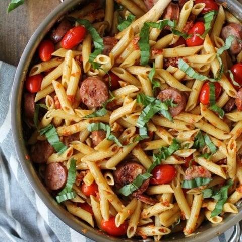 30-Minute Gluten-Free Sausage Pasta with Sun-Dried Tomato Pesto Sauce