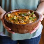 Albondigas Soup - a classic Mexican meatball soup   TheRoastedRoot.net #healthy #dinner #recipe #glutenfree #cincodemayo