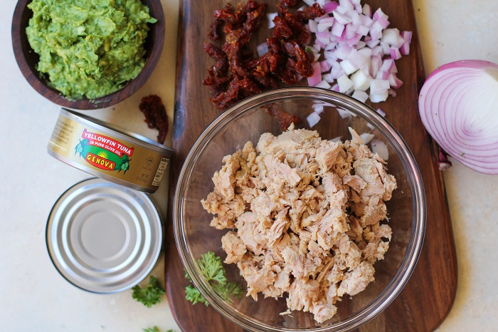 Avocado Pesto Tuna Salad with Sun-Dried Tomatoes - mayo-free and healthy! | TheRoastedRoot.net #recipe #lunch @genovaseafood