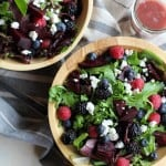 Beet and Berry Salad with Raspberry-Fig Vinaigrette | TheRoastedRoot.net #healthy #vegetarian #recipe