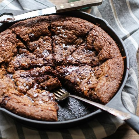 Deep Dish Paleo Salted Chocolate Chip Cookie - grain-free, refined sugar-free, made with tiger nut flour and coconut sugar | TheRoastedRoot.net #dessert #glutenfree #healthy #recipe #chocolate
