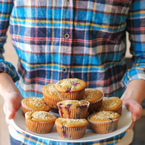 Paleo Blueberry Muffins - grain-free, refined sugar free, dairy free - made with coconut flour, tapioca flour, and honey #healthy #recipe #glutenfree