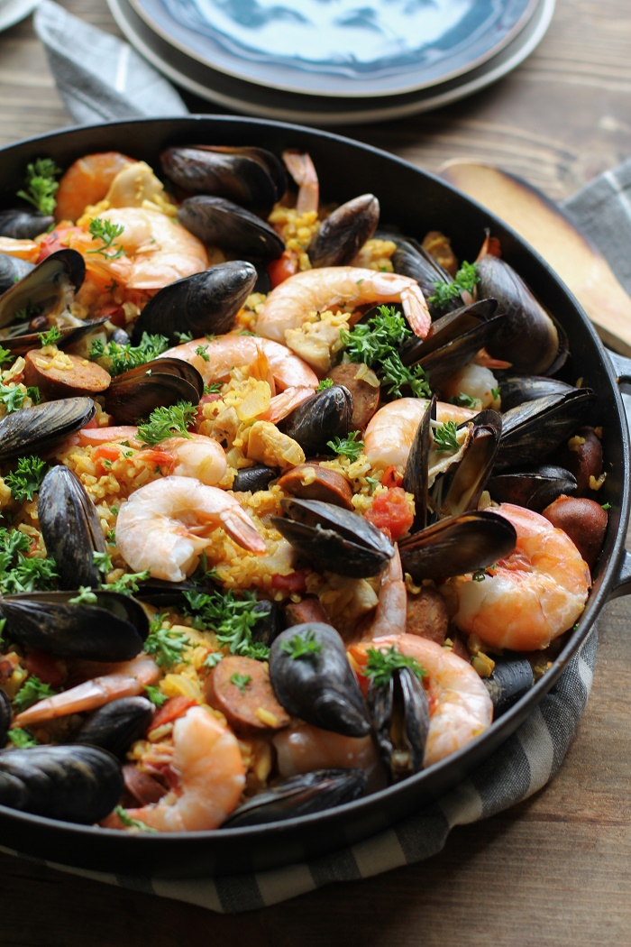 Seafood paella the roasted root seafood paella with chicken sausage shrimp and mussels a delicious tapas recipe forumfinder Image collections